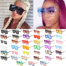 Wholesale 40 Colors One Piece Oversized Square Sunglasses For Women 2021 Luxury Brand Black Sun Glas