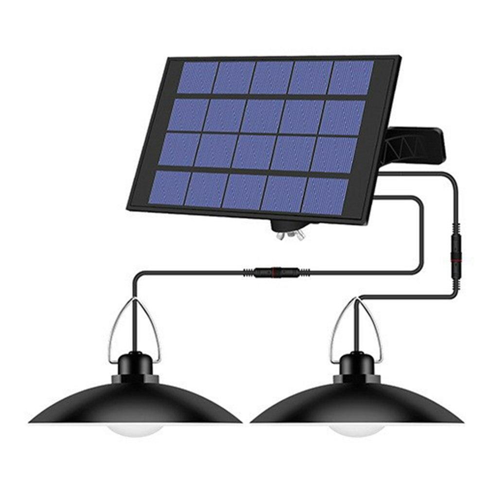 IP65 مقاوم للماء مزدوج رئيس الشمسية قلادة ضوء في الهواء الطلق مصباح للطاقة الشمسية في الأماكن المغلقة مع كابل مناسبة لحديقة فناء