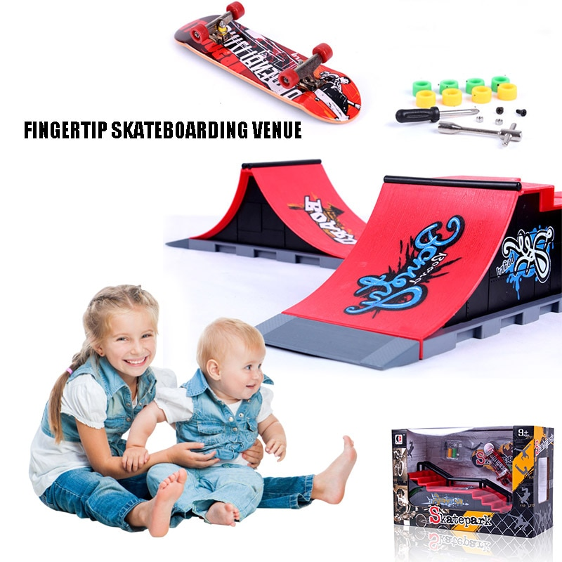 Crianças dedo conjunto skate parque rampa peças mini fingerboard kit jogo adereços bm88