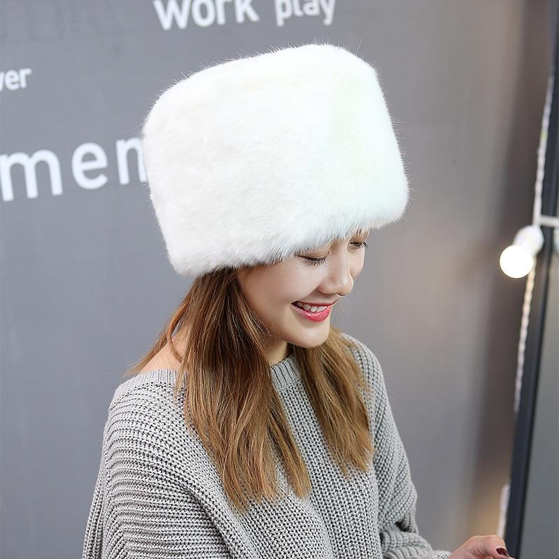 Qearlstar, sombrero de piel de zorro artificial de Invierno para mujer, gorros cálidos planos para hombre, gorros gruesos de imitación, Gorro con orejas para la nieve, cosaco Multicolor, sombrero DW24