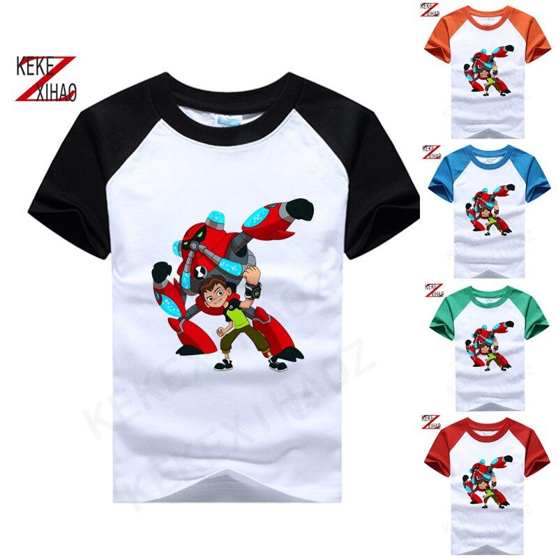 Camiseta estampada para niños, Camiseta de algodón 10 Ben, camiseta de moda de manga corta con cuello redondo de Alien desbordamiento de dibujos animados 050210