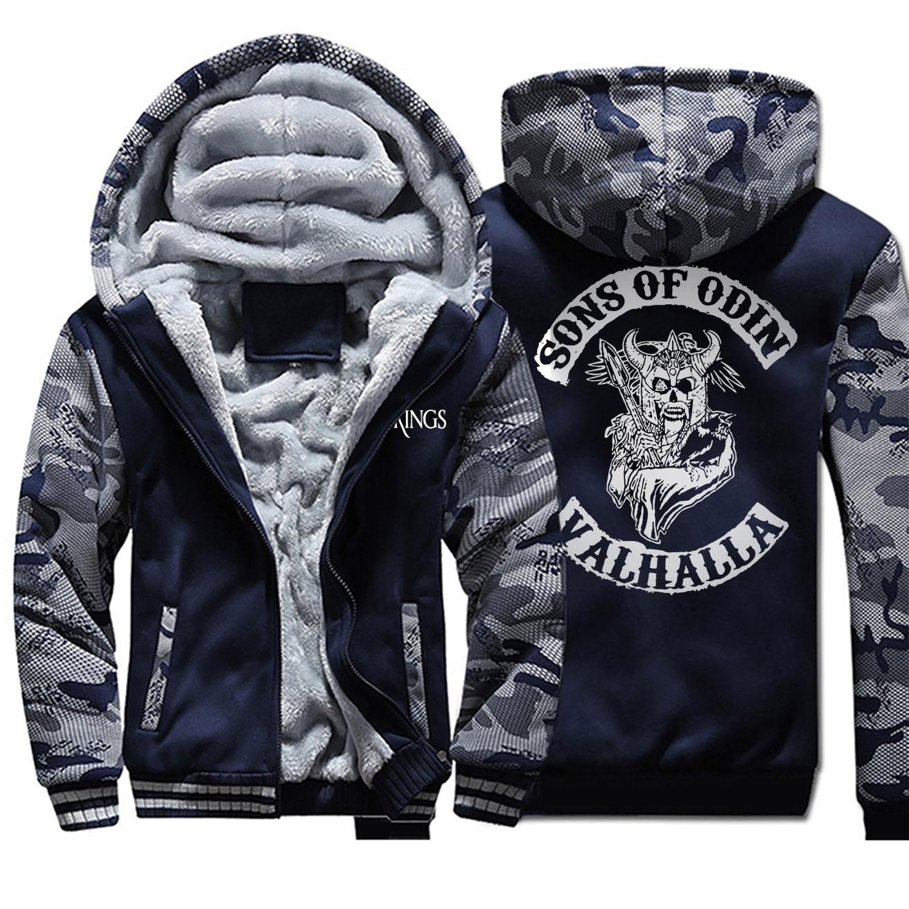 Aons de Odin Valhalla estampado Vintage sudaderas con capucha 2019 nuevo invierno sudadera Raglan hombre Hip Hop divertido camuflaje con cremallera ropa de abrigo