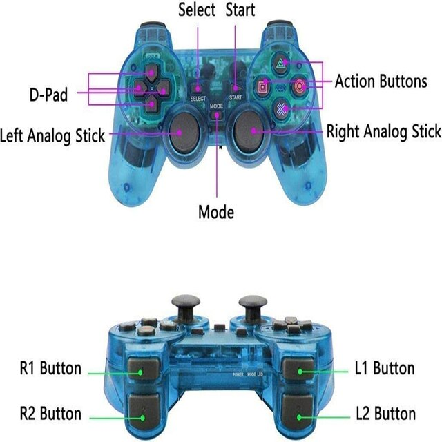 New For SONY PS2 Wireless Controller Bluetooth Gamepad For PlayStation2 Joystick Console For Dualshock2 Transparent Gamepad 10