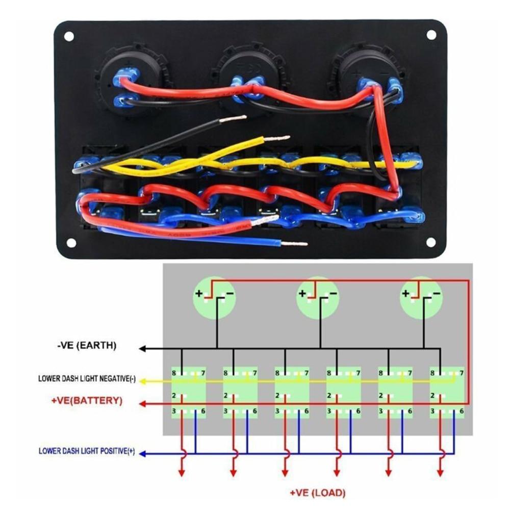 Balancín IP67 con tornillos interruptor Panel de interruptores LED reemplazo de interruptor de coche Marine 6-Gang