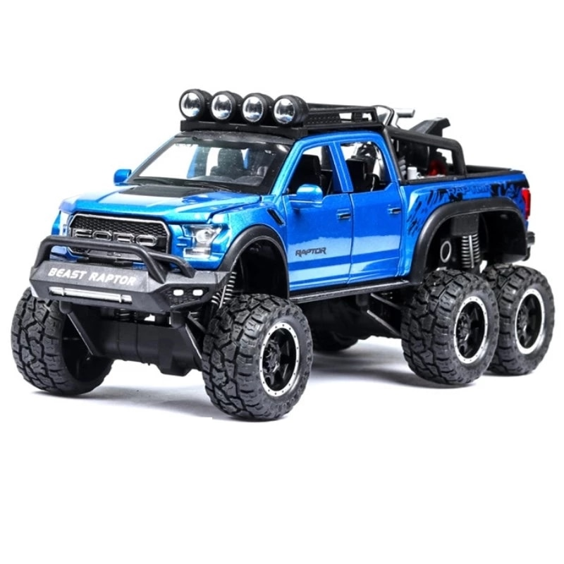1 32 mini alloy pickup truck ford raptor f150 pick up alloy model toy car for sound and light and sliding car 1: 28 simulation Ford F150 Raptor off-road alloy car model children's sound and light toy car birthday gift blue car