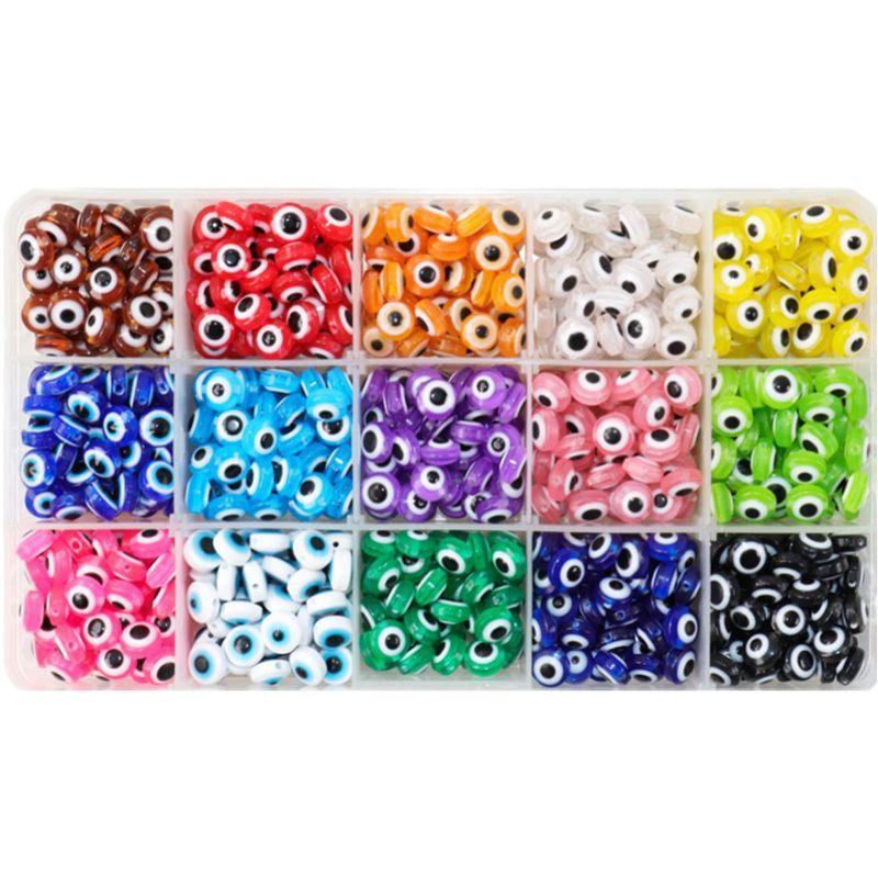 50 teile/los 8mm oval form spacer perlen bösen blick perlen streifen harz spacer perlen für schmuck machen armband halskette charme