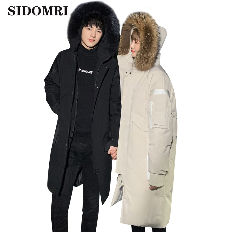 Mens down jacket new stylish medium and long Korean version thickened youth hooded casual men's coat with large fur collar