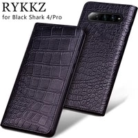 luxury genuine cow leather flip case for xiaomi black shark 4 pro flip cover handmake leather protective case