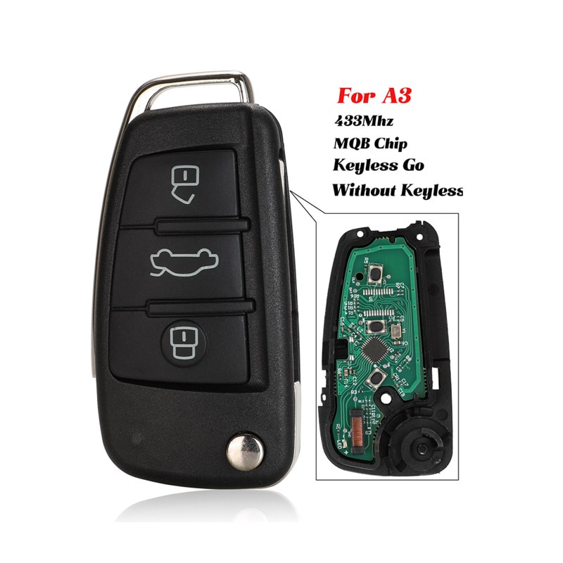 jingyuqin MQB KeylessGo / Semi-intelligent Modified Remote Key 3 Buttons 433MHz use For Audi A3 S3