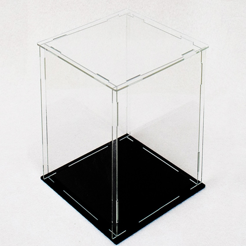 15x30cm Acrylic Display Collect Dust Cover Cabinet for Model Hand-Made Doll Collection Case with Light Easy-Install 1pc