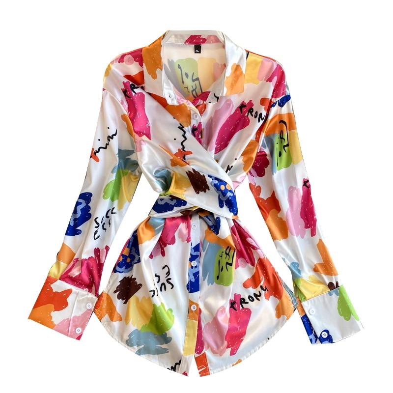 Spring Fashion Blouse Women Turn-Down Collar Shirt Elegant Womens Tops And Blouses Long Tunic Desigual Ladies Tops Blusas GD349