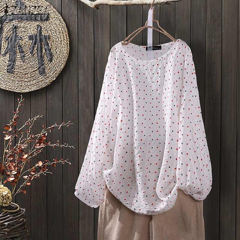 ZANZEA-Blusas tipo túnica, informal, estampado, de M a 5XL, para primavera, manga larga, veraniego, a la moda, de lunares, para fiesta, camisola de mujer