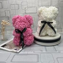 Hot Valentijnsdag Geschenk 25 Cm Rode Roos Teddybeer Rose Bloem Kunstmatige Decoratie Kerstcadeaus Vrouwen Valentines Gift
