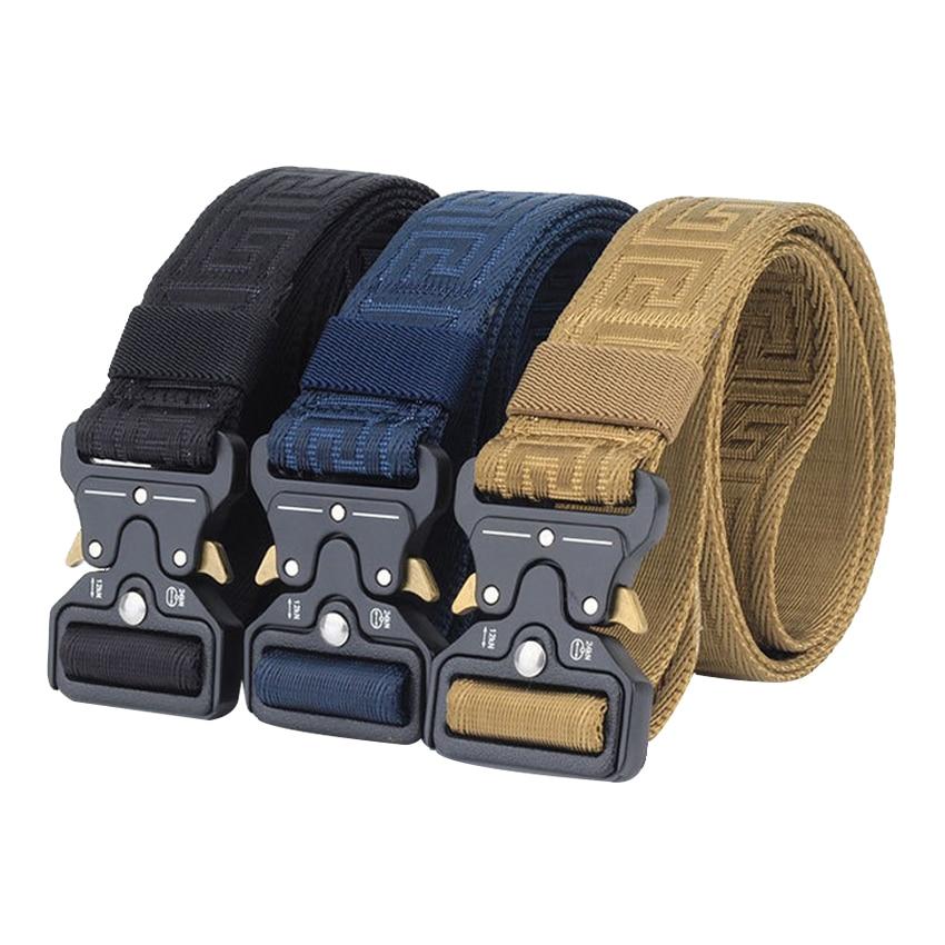 ¡Novedad de 2020! Cinturón de aleación de nailon para hombre de marca de lujo, cinturones de Hebilla negra, cinturón a la cintura informal para hombre de diseño de alta calidad, correa para exteriores