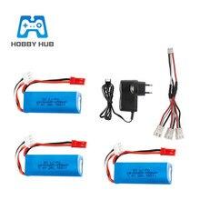 Batterie Lipo 7.4V 450mAh 20c et chargeur 7.4v ensembles pour WLtoys K969 K979 K989 K999 P929 P939 RC voiture pièces de rechange batterie 2s 7.4v