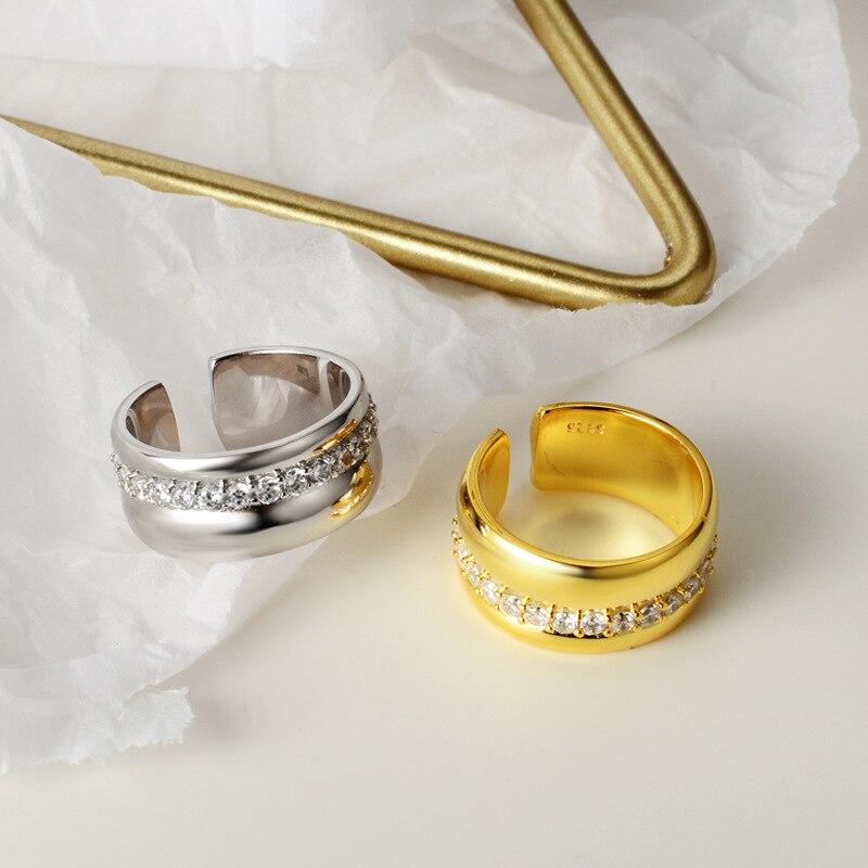 Europe S925 argent Sterling bague lisse pour les femmes personnalité Ins vent froid Zircon anneau ouverture partie élégant luxe mariée