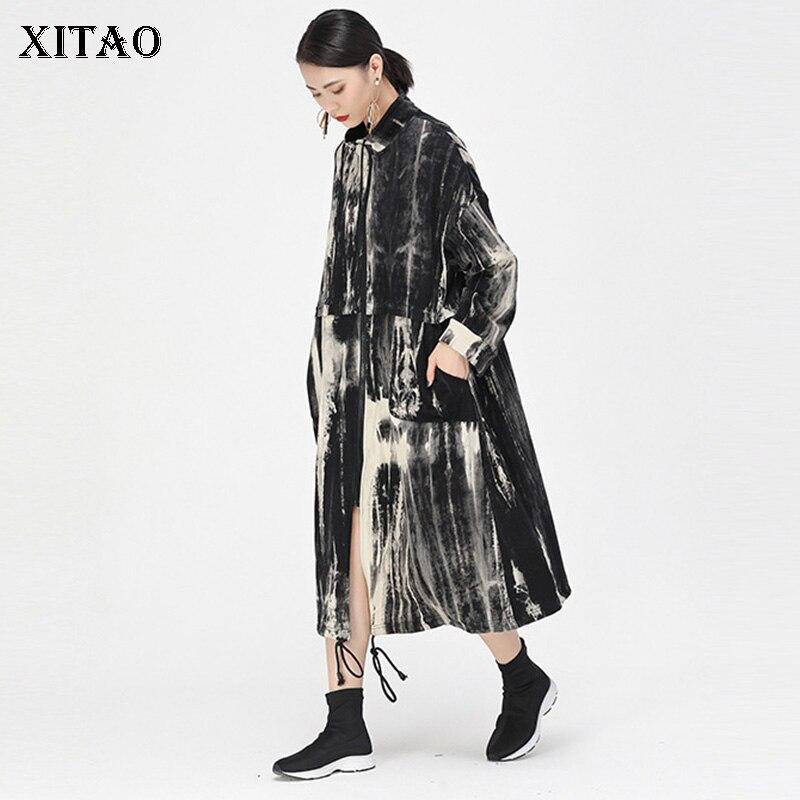 XITAO التعادل الصباغة التدرج خندق معطف للنساء خمر موضة سترة واقية طويلة الوقوف طوق حجم كبير النساء أعلى GCC2366