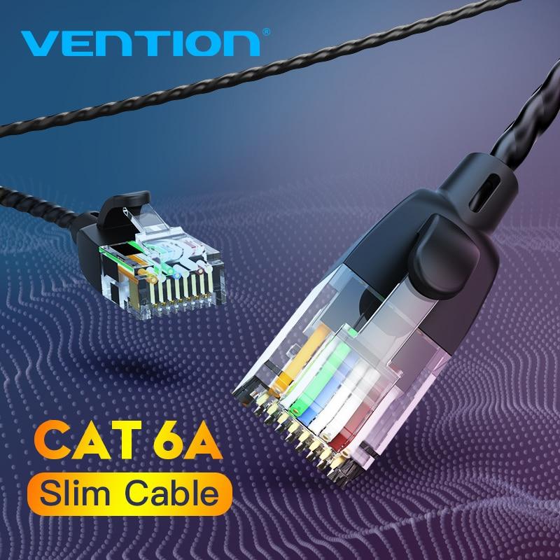 Vención de La Cat6A Cable de Ethernet de 10Gbps Lan Cable UTP RJ 45 Slim Cable de conexión Ethernet Compatible con Cable de conexión para módem Router