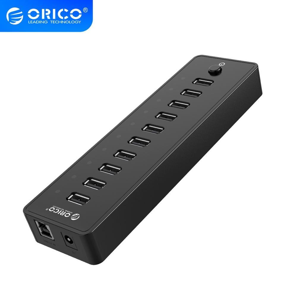 ORICO-USB HUB 10 منافذ ، محول طاقة 12 فولت ، موزع USB عالي السرعة للكمبيوتر الشخصي ، ملحقات الكمبيوتر ، كابل بيانات 1 متر