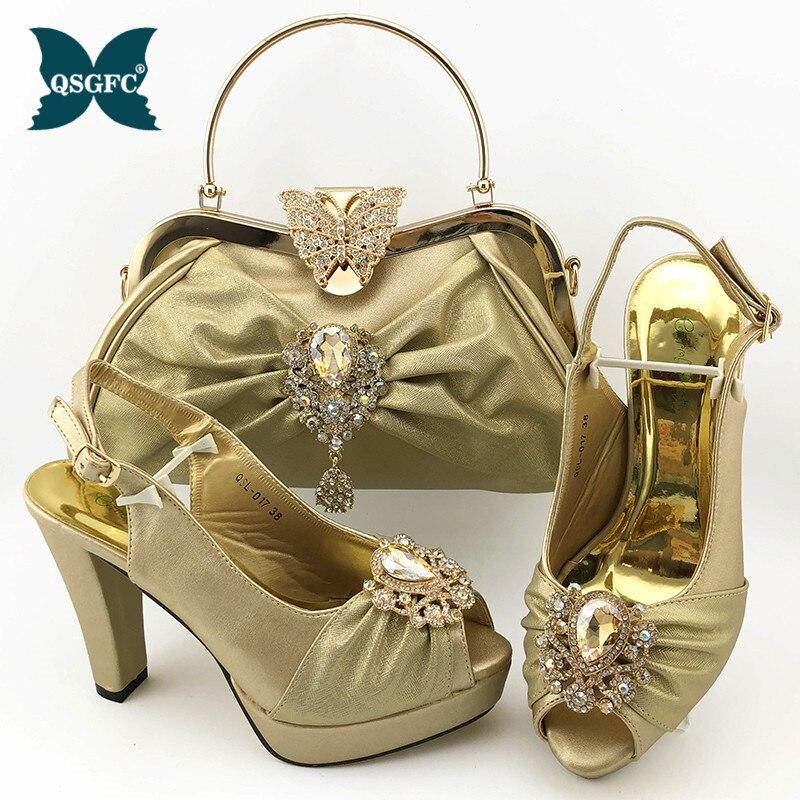 Neueste Goldene Schuhe und Taschen Set Nigerian Beste Match Schuhe und Passende Taschen Afrikanische Frauen Strass Hochzeit Schuhe