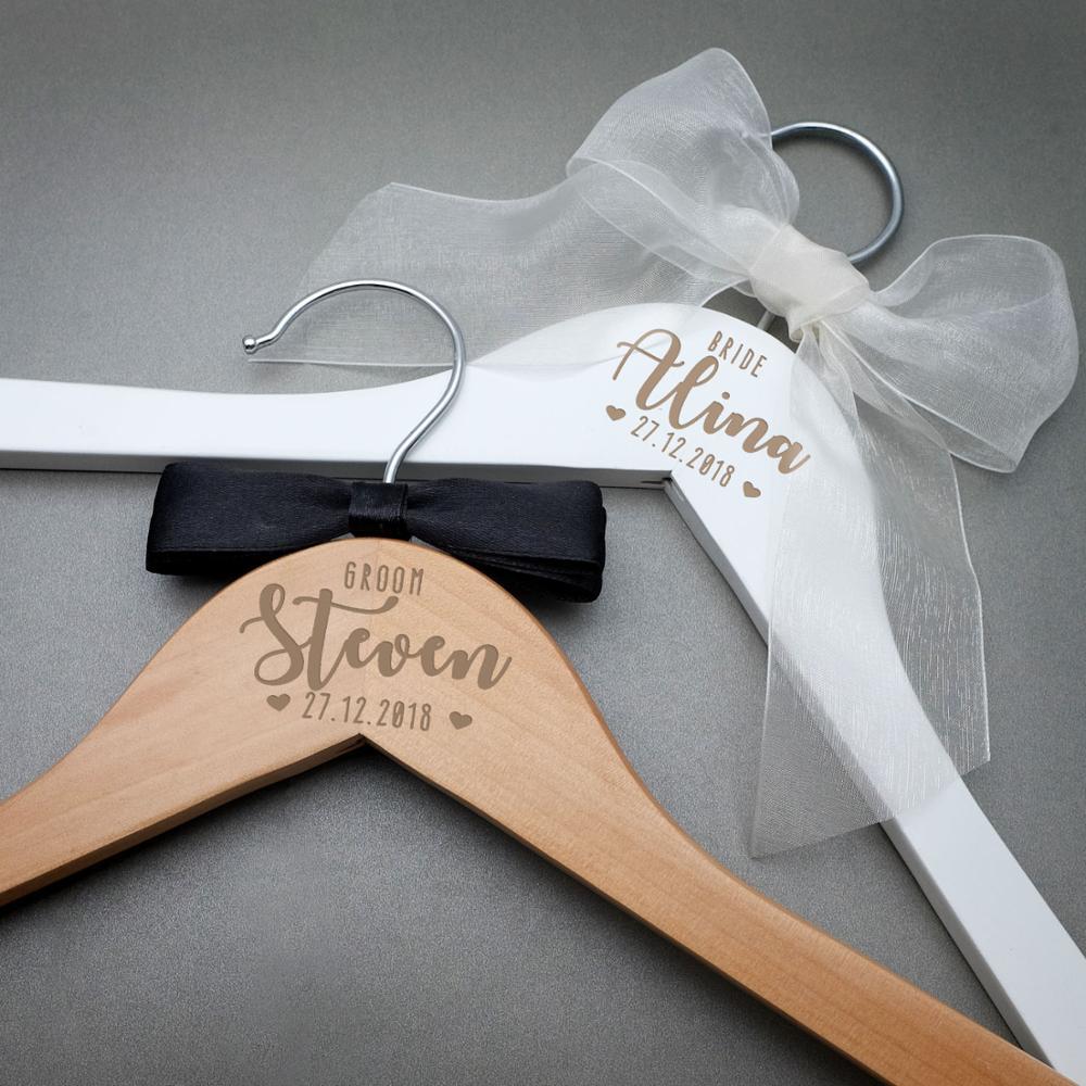 Personalized Wedding Hanger Bridal Shower Gift Engrave Name Wood Hanger Bridesmaid  Groomsmen Hanger