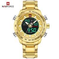 Часы наручные NAVIFORCE Мужские кварцевые, роскошные брендовые цифровые водонепроницаемые из стали, в стиле милитари