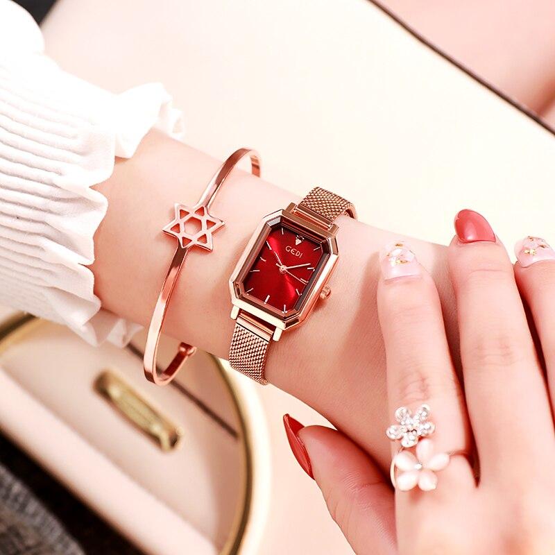 GEDI Top Brand Luxury Women Watches Waterproof Fashion Small Mesh Strap Quartz Wristwatches Casual D