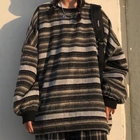 pullovers women loose oversize unisex couples japanese striped knit sweater hip hop female new winter fashion retro daily
