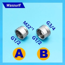 Wasourlf g1/2 암나사 3/4 m22 수나사 어댑터 황동 크롬 커넥터 샤워 욕실 주방 파이프 호스 액세서리