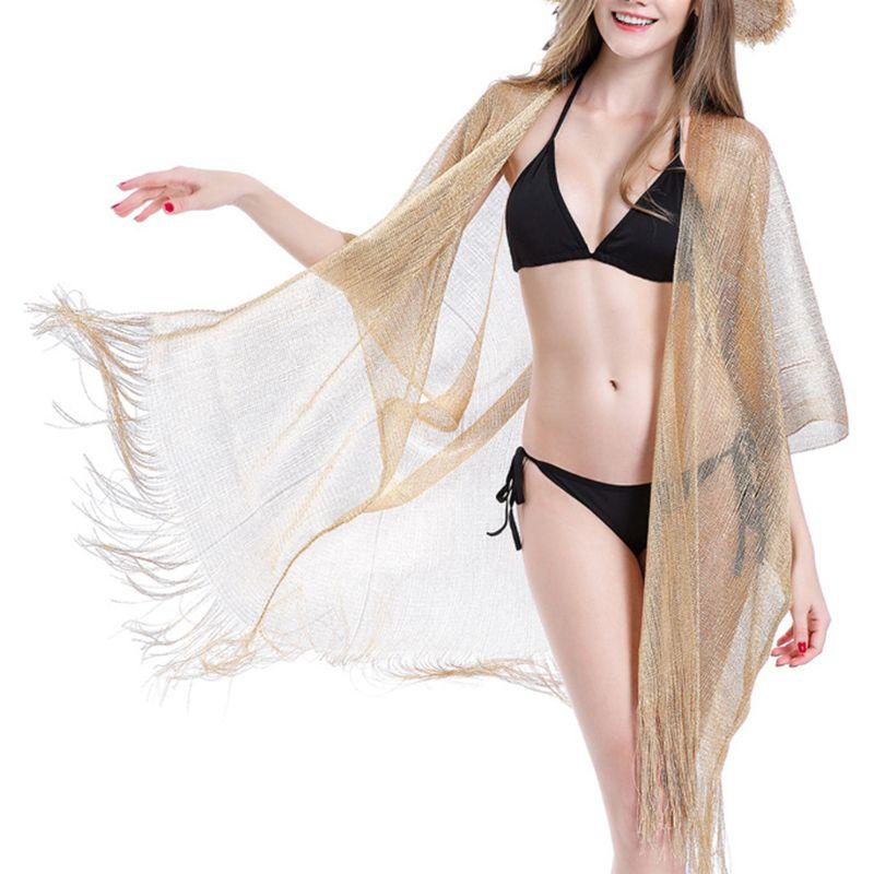 cardigan feminino cor solida metalica com glitter capa longa bainha assimetrica protetor solar