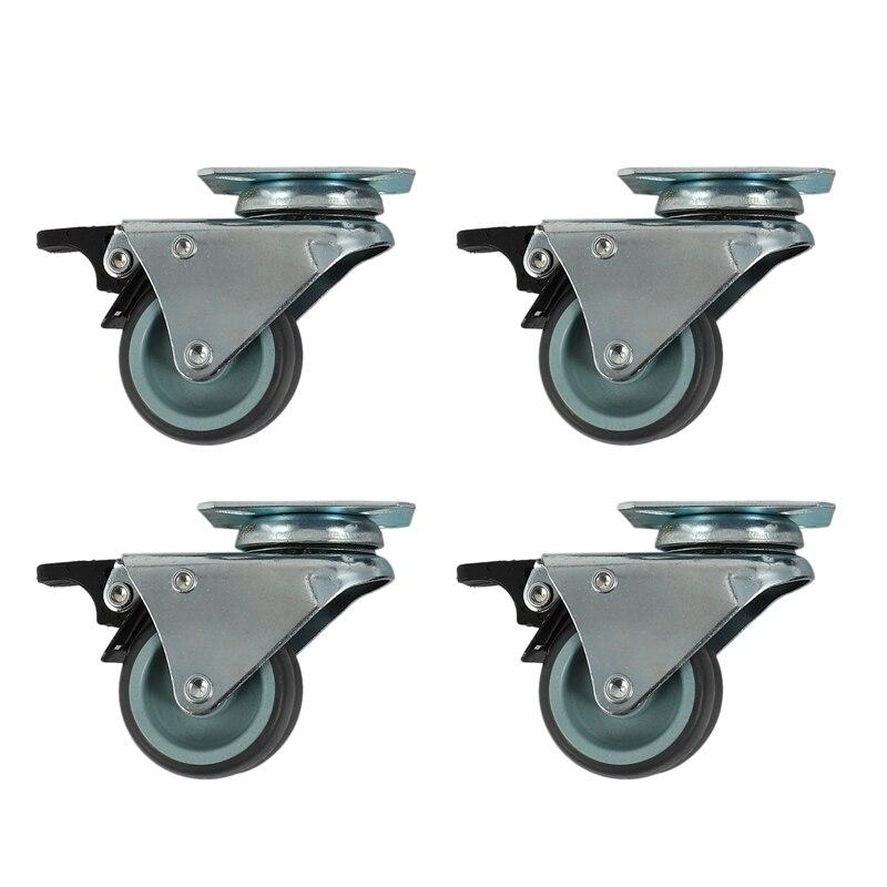 4 × عجلات دوارة متينة 50 مللي متر مع فرامل لأثاث العربة