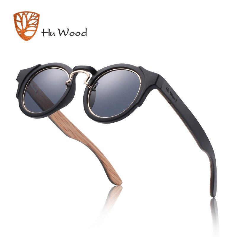 Hu Wood Round Steampunk gafas de sol de moda para hombres y mujeres gafas de marca de diseñador Retro marco Vintage gafas de sol de alta calidad UV 400
