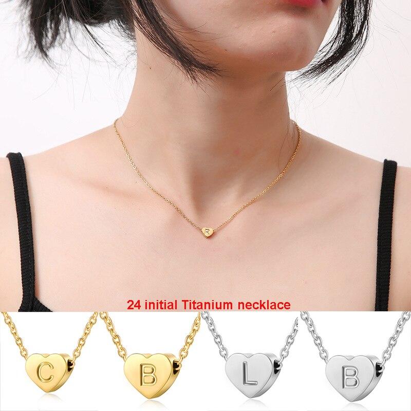 Collar de corazón de acero titanio collar inicial regalos para niñas niños joyería collares de declaración para mamá bebé niña dama de honor regalo