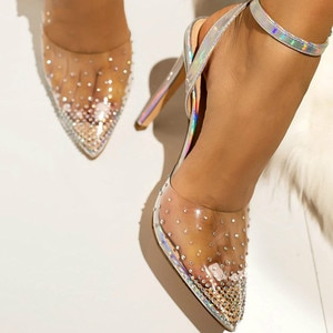 2021 Fashion rhinestone PVC transparent shoes stilettos high heels sandals women pointed toe party silver party wedding shoes