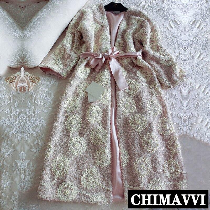 الخريف الشتاء بيجامة من الحرير الحمام الفاخرة نوم المرأة المطرزة طويلة ليلة رداء الوردي ثوب النوم رشاقته ملابس خاصة منامة