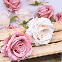 10 pieces 10cm grande tete soie Rose fleur decorative fleur mariage decoration de la maison accessoires bricolage couronne cadeau Scrapbooking artisanat