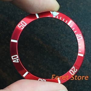 38mm Watch parts Red Titanium Luminous Bezel with white mark Insert for 40mm 41mm Automatic Watches