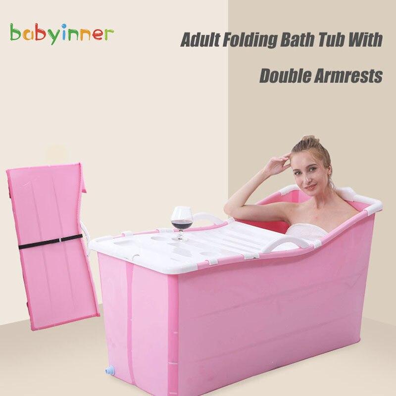 Babyinside-حوض استحمام قابل للطي للأطفال والكبار ، 1.2 متر (47.2 بوصة) ، سعة عالية ، دلو حمام منزلي بغطاء ، حوض سميك قابل للطي