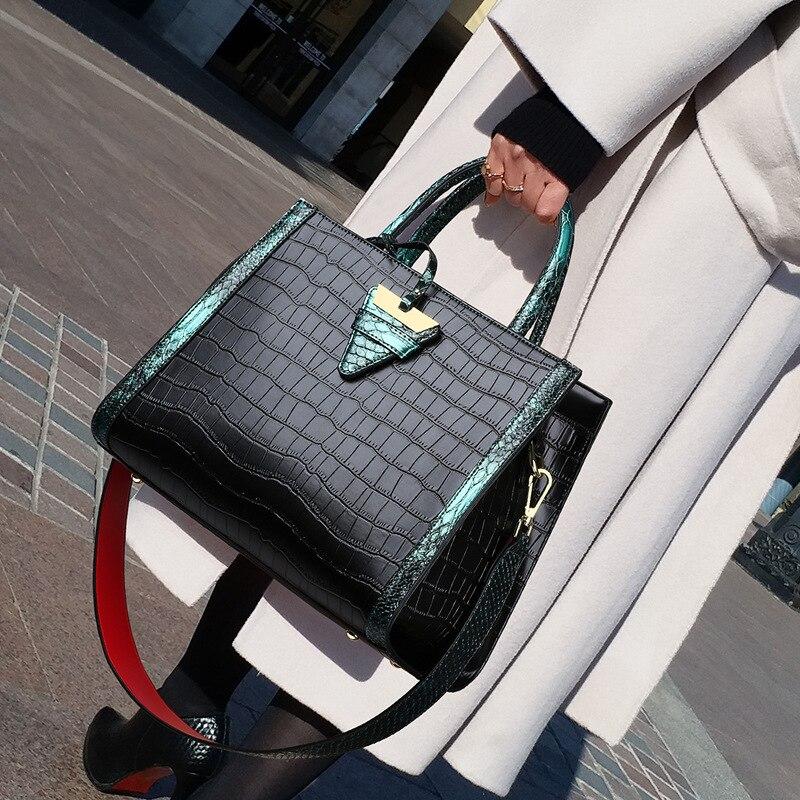 حقائب يد جلدية أصلية 100% ، حقيبة كتف نسائية ، سعة كبيرة ، طباعة ثعبان ، موضة 2020 ، Gg