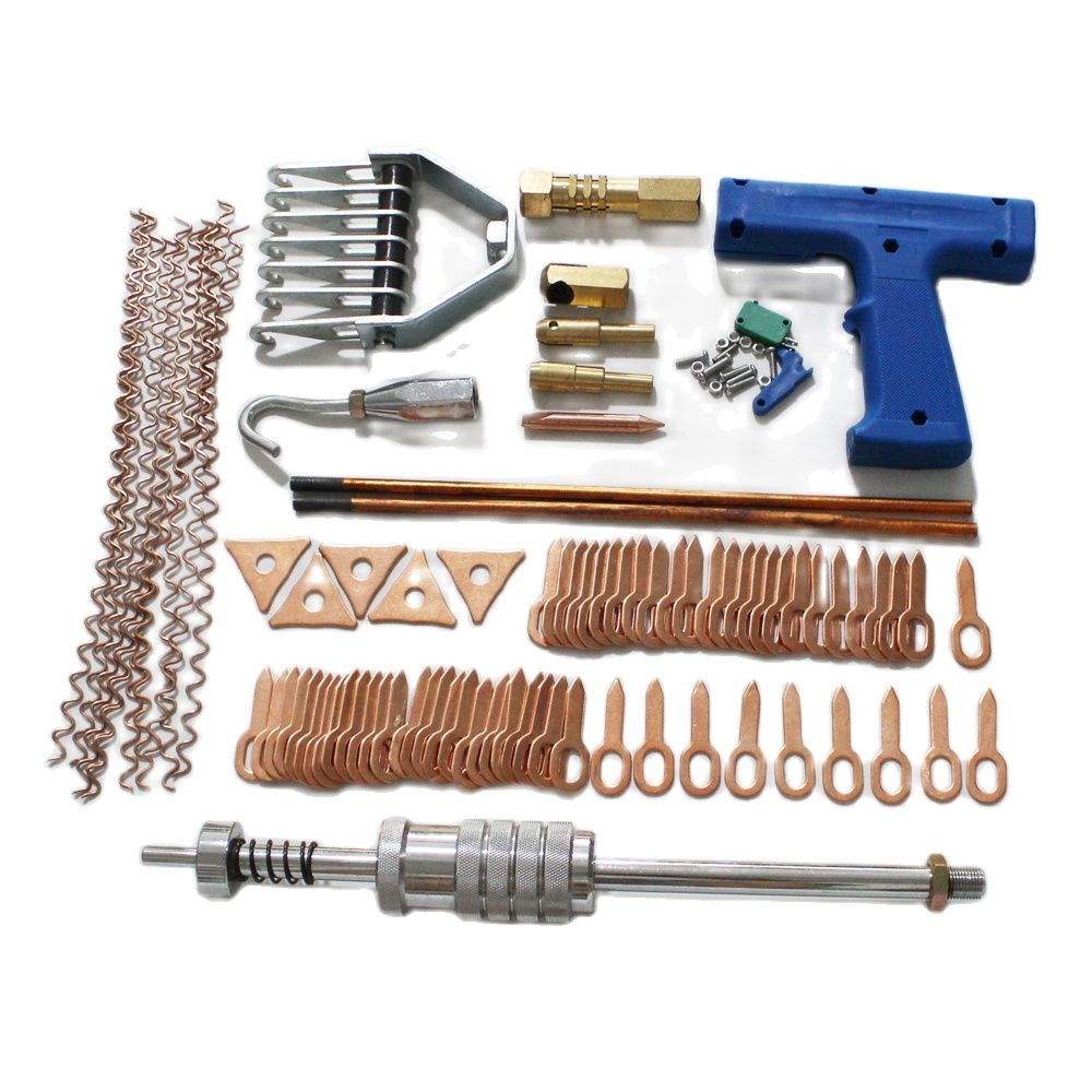 95pcs Dent Puller Kit With Spot Welding Electrode,Wiggle Wire,Tri-hook Washer,Straight Pull Rings For Car Body Repair