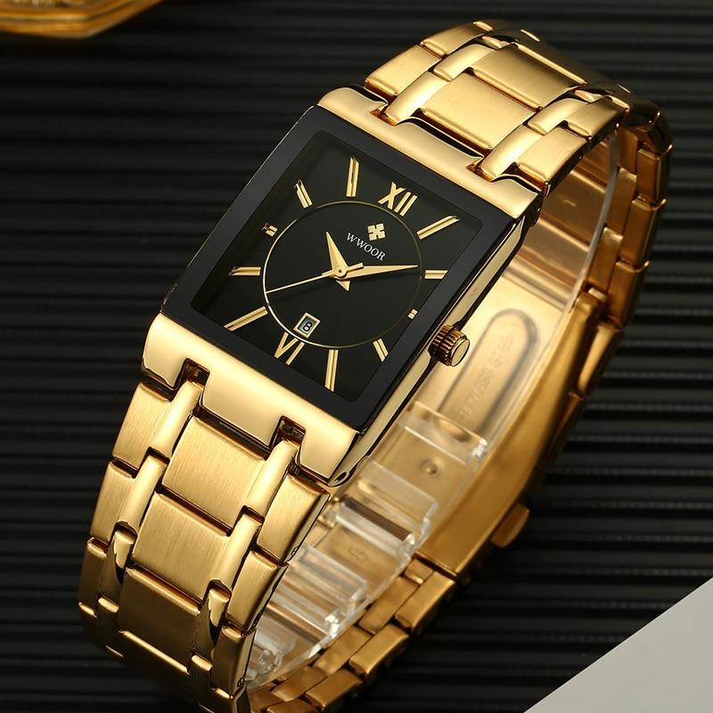 WWOOR New Designer Watch Men Square Quartz Clock Mens Watches Top Brand Luxury Gold Black Stainless Steel Waterproof Wrist Watch