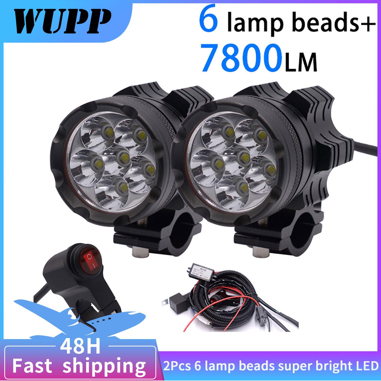 WUPP 2 قطعة العالمي 6 رقائق LED مصابيح الأمامية للدراجة النارية Motos لمبة دراجة نارية مقاوم للماء الضباب بقعة 7800LM الأضواء السوبر مشرق