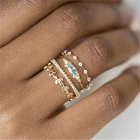 4 pcsset crystal flower womens ring set trendy engagement wedding party famale rings jewelry hand accessories size 5 10