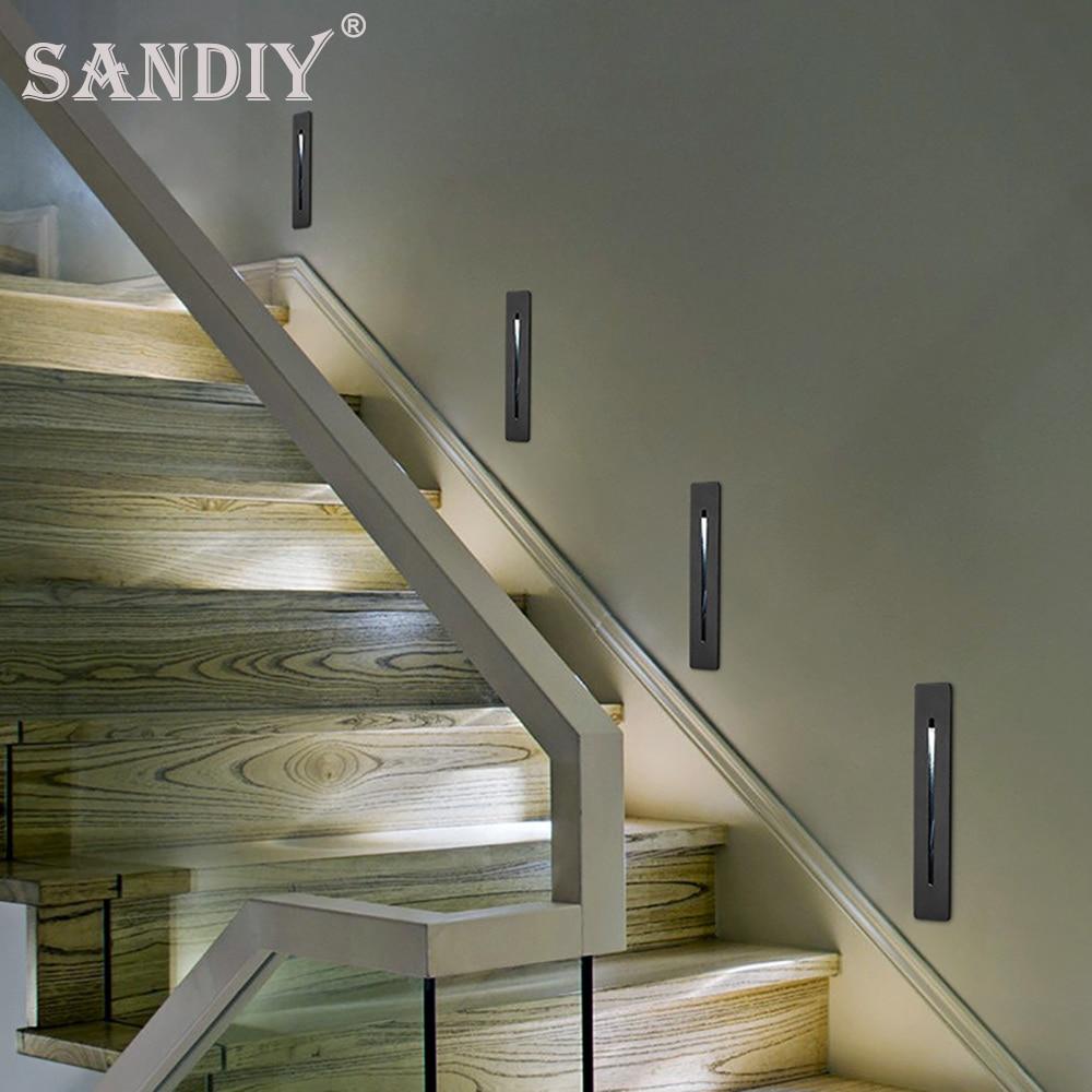 مصابيح الحائط راحة الدرج وأضواء الخطوة أبيض/أسود إضاءة داخلية للممر الدرج غرفة نوم الممر ضوء الليل 110 فولت 220 فولت 3 واط