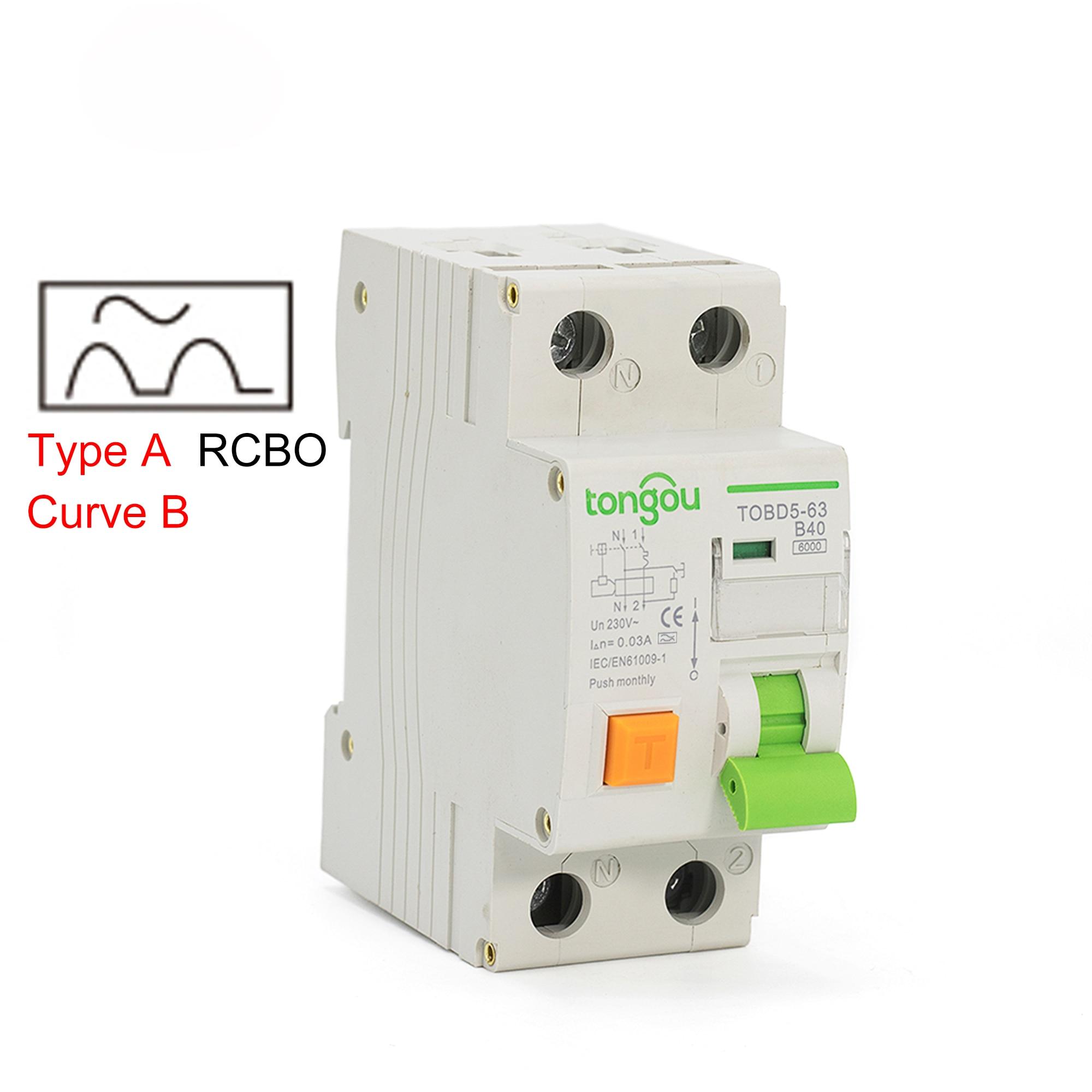 220 فولت 1P + N نوع A منحنى B الكهرومغناطيسية المتبقية قطاع دارة الحالي مع أكثر من حماية الحالية والتسرب RCBO