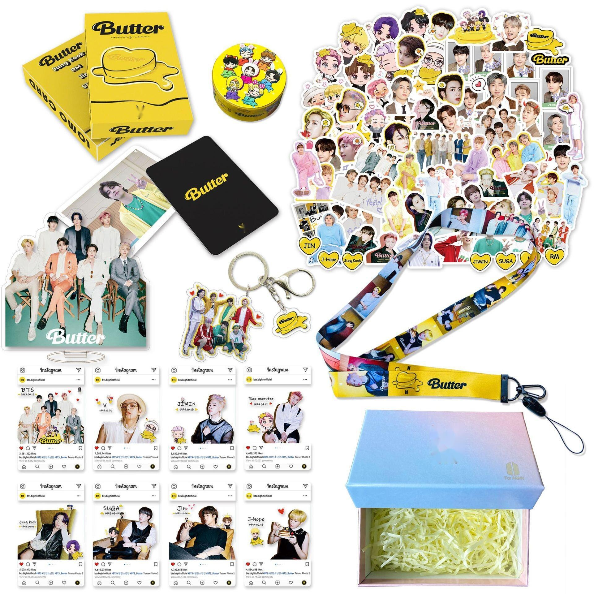 Kpop Bangtan Boys New Song Butter Peripheral Aid Gift Pack Postcard Hanging Rope Keychain Sticker Gift Box Set Lomo Card Suga