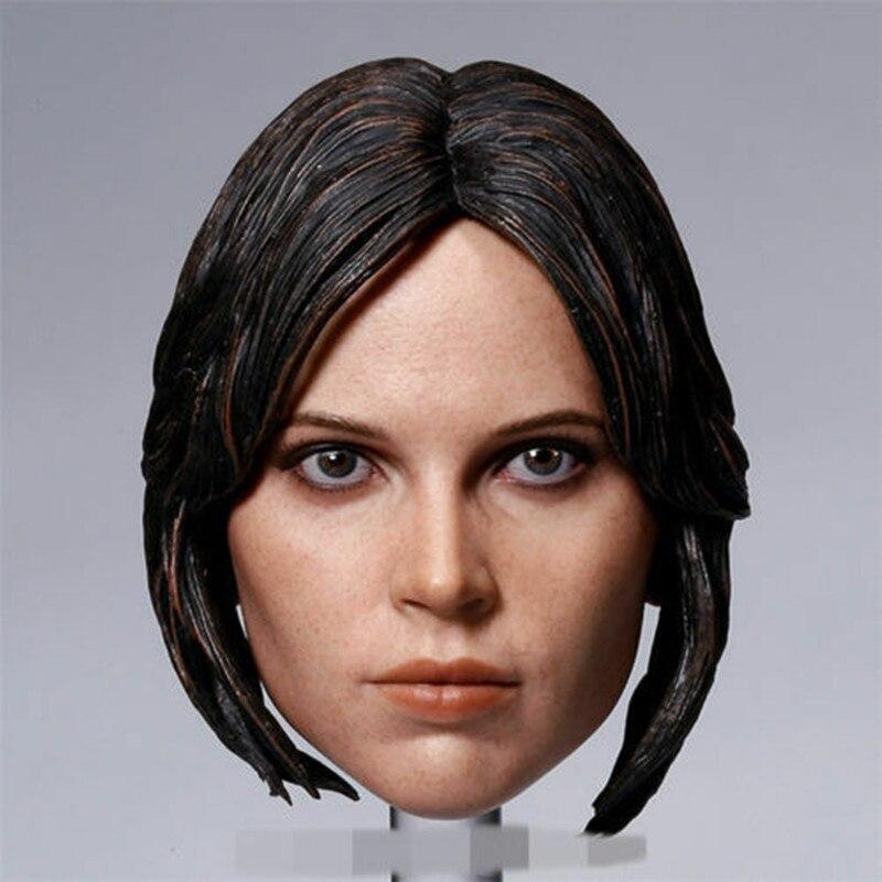 "1/6 báscula femenina Rogue One jefe Actress cabeza esculpir escultura Carveing modelo apto para 12 ""figura 12 pulgadas mujer cuerpo juguetes muñecas"