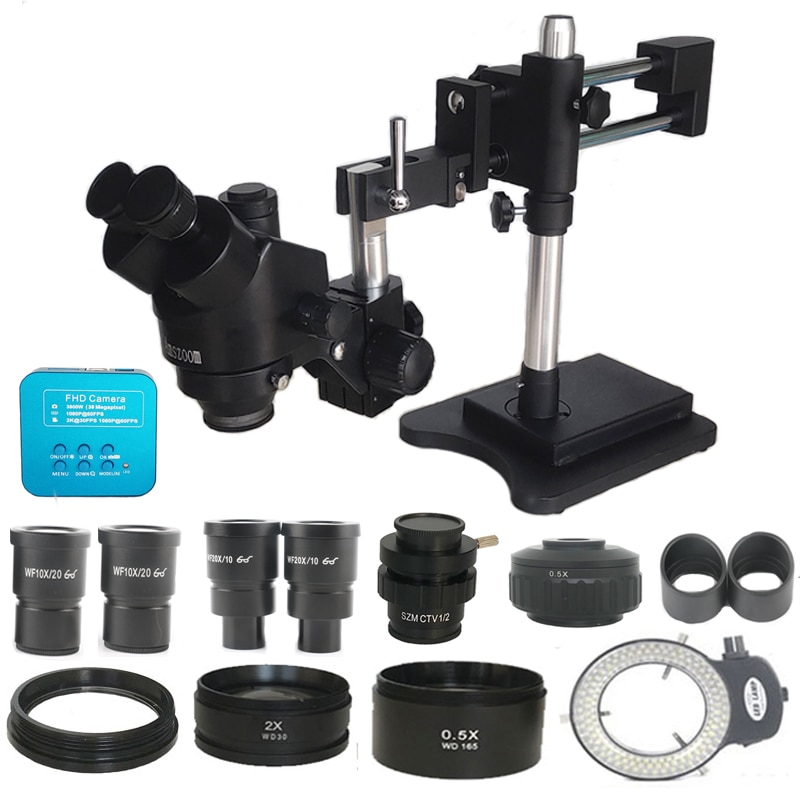 3.5X-90X Double Boom Zoom Simul Focal Trinocular Stereo Microscope 38MP HDMI-Comp USB  Microscopio Camera Phone PCB Repair Tools