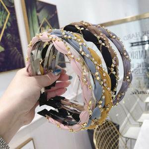 Women's Crystal Headband Hairband Twist Pearl Hair Band Hoop Accessories Party