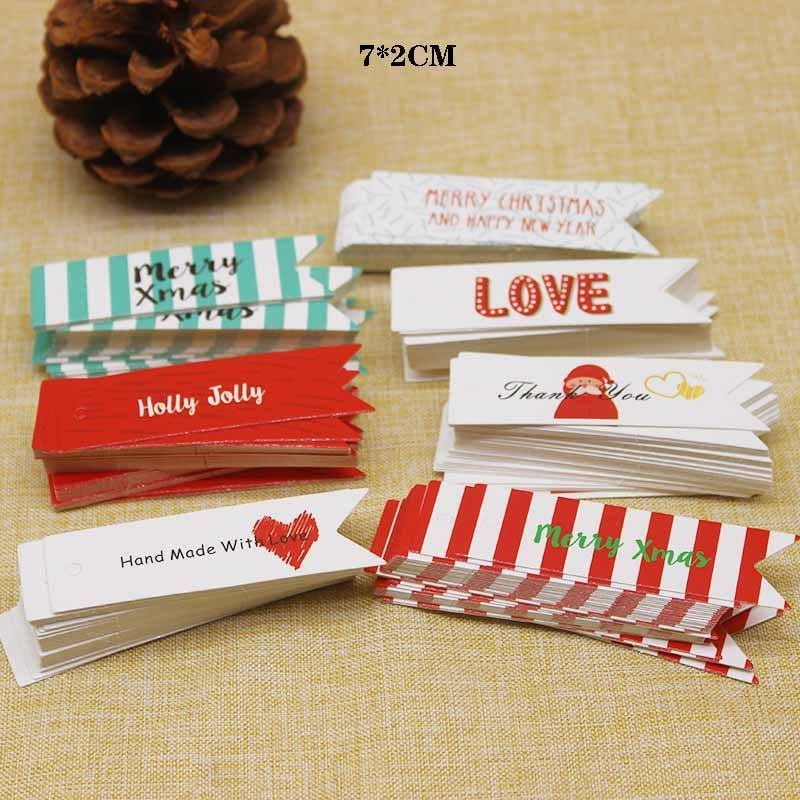 100pcs Paper Hang Tags Merry Xmas Tags Label Christmas Decoration Gift Price Tags Labels Holiday Par